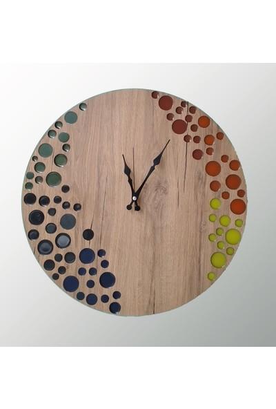 Tablo Art House Epoksi Dolgulu Ahşap Duvar Saati Renkler 50 cm