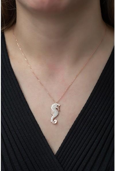 Nereze 925 Ayar Deniz Atı Kolye Kadın Gümüş Kolye