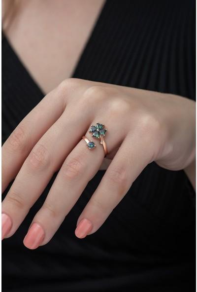 Nereze 925 Ayar Ayarlanabilir Mistik Topaz Taşlı Yonca Kadın Gümüş Yüzük