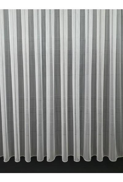 DNZ Ev Gereçleri Çizgili Yatay Modern Tül Perde 1/2.5 Pileli