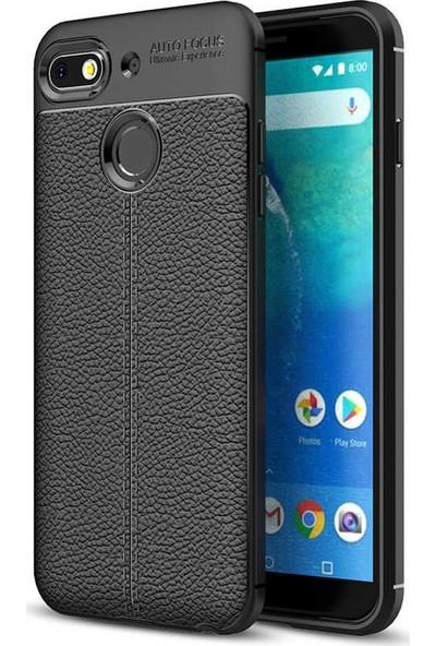 General Mobile Gm 9 Go Kılıf + Ekran Koruyucu Kamera Korumalı Deri Görünümlü Rugan Armor Tam Koruma Silikon Siyah
