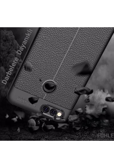 Huawei Y6 2018 Kılıf + Ekran Koruyucu Kamera Korumalı Deri Görünümlü Rugan Armor Tam Koruma Silikon Lacivert