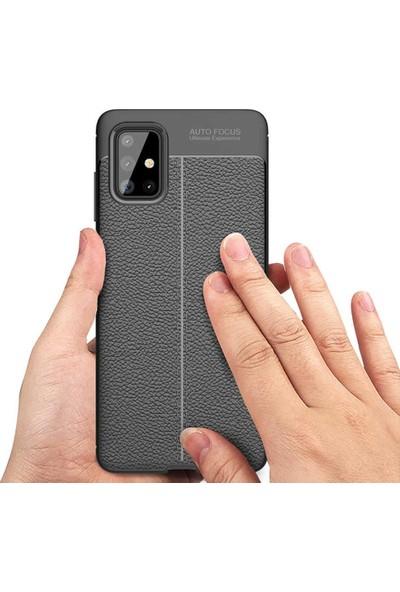 Samsung Galaxy A51 Kılıf Kamera Korumalı Deri Görünümlü Rugan Armor Tam Koruma Silikon Siyah