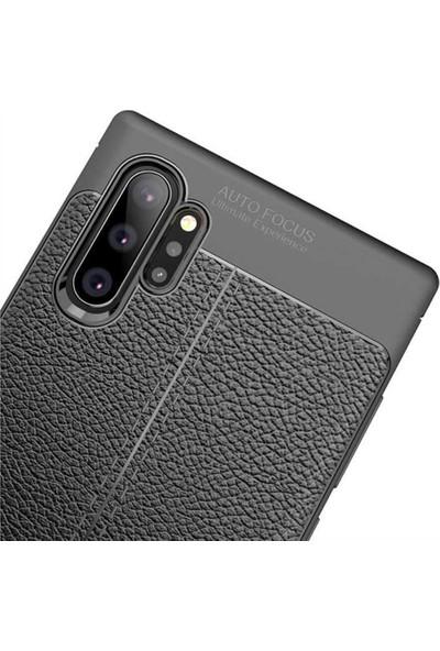 Fibaks Samsung Galaxy Note 10 Plus Kılıf Kamera Korumalı Deri Görünümlü Rugan Armor Tam Koruma Silikon Siyah