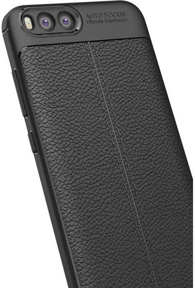 Xiaomi Mi 6 Kılıf + Ekran Koruyucu Kamera Korumalı Deri Görünümlü Rugan Armor Tam Koruma Silikon Siyah