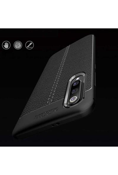 Xiaomi Mi 9 Lite Kılıf Kamera Korumalı Deri Görünümlü Rugan Armor Tam Koruma Silikon Siyah