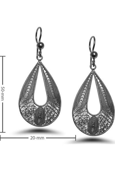 Midyat Nurtaş Gümüş Damla Model Oksitli Telkari Gümüş Küpe