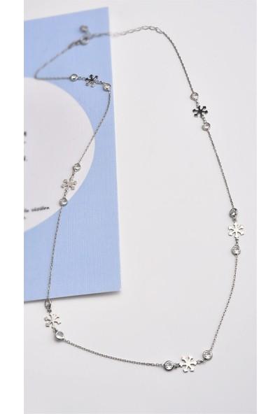 Jelux Silver Kar Tanesi Model Zirkon Taşlı Gümüş Kolye
