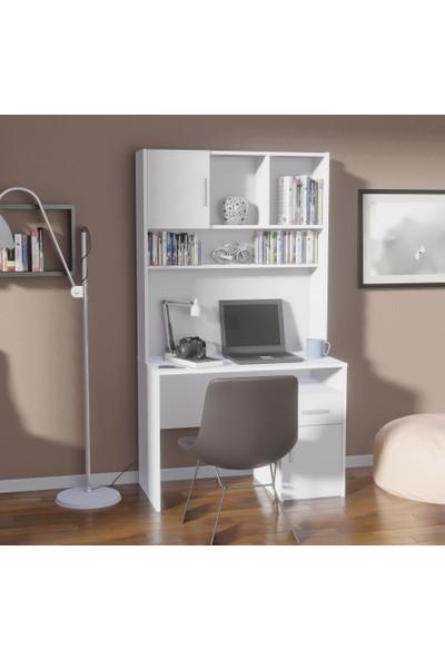 Shila Home Kitaplıklı Çalışma Masası Beyaz