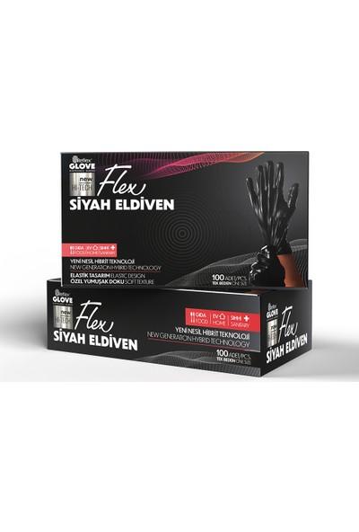 Reflex Flex Yeni Nesil Hibrit Teknoloji Polietilen Eldiven 100'lü Paket Siyah