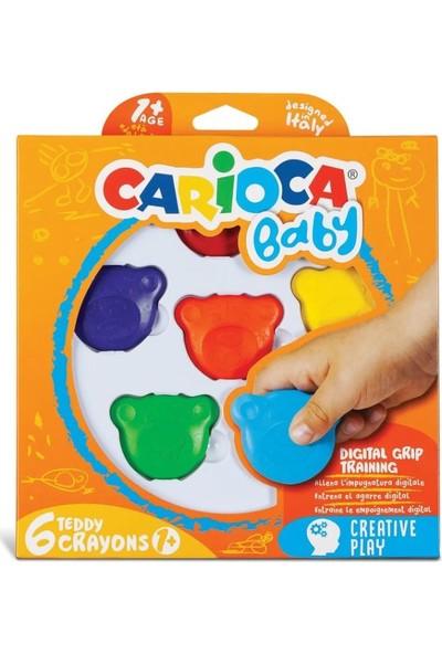 Carioca Teddy Şekilli Kirletmeyen Mum Boyalar 6'lı