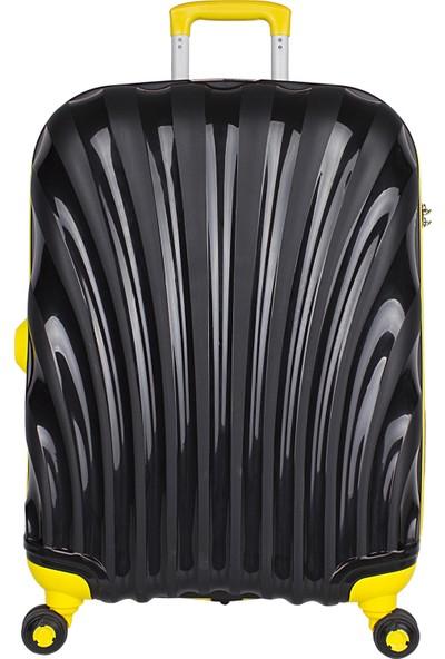 Bagacar Shell Silikon Kırılmaz Büyük Boy Valiz Siyah Sarı