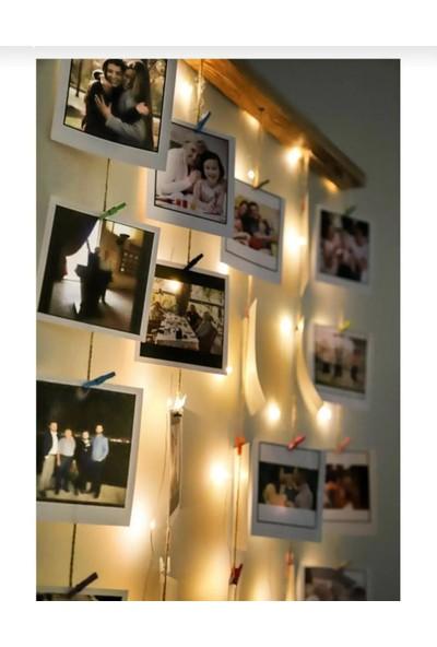 Deha Moda Renkli Ipli Mandallı Peri LED Işıklı Fotoğraf Askısı/fotoğraf Çerçevesi-Albüm