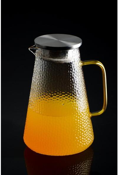 Acar Bloom Metal Kapaklı Buzlu Cam Sürahi - 1800 ml