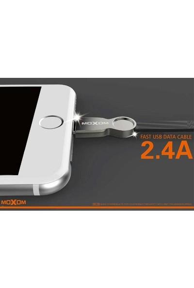 Moxom Metal Başlıklı Iphone Lightning Ios Şarj Data Kablosu Siyah