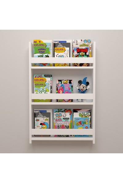 Berpahome Beyaz Montessori Çocuk Odası Eğitici Duvar Rafı Kitaplık