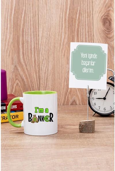 Hediye Dükkanı Bankacı Yeşil Kupa Bardak ve Mesajlı Not Tutucu