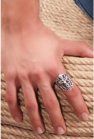Labalaba Erkek Antik Gümüş Kaplama Ayarlanabilir Gotik Iskelet&çarmıh Yüzük