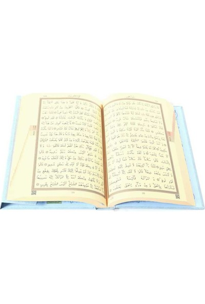 Orta Boy Kur'an-I Kerim (2 Renkli, Mavi, Mühürlü)