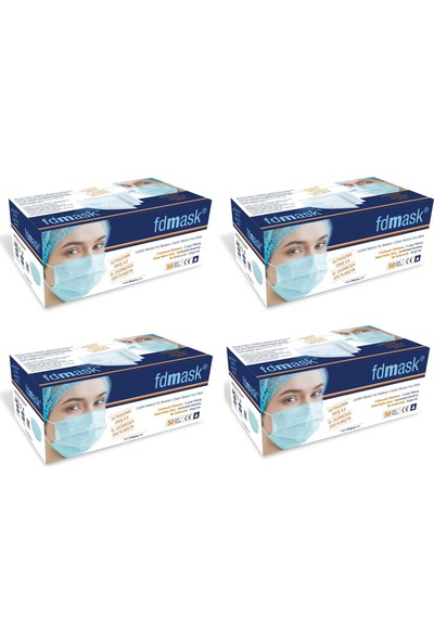 Fdmask 3 Katlı Telli Cerrahi Maske 50'li x 4 Kutu 200 Adet
