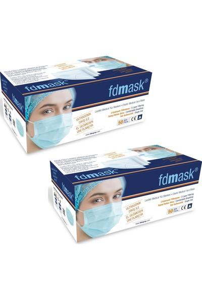 Fdmask 3 Katlı Telli Cerrahi Maske 50'li x 2 Kutu 100 Adet