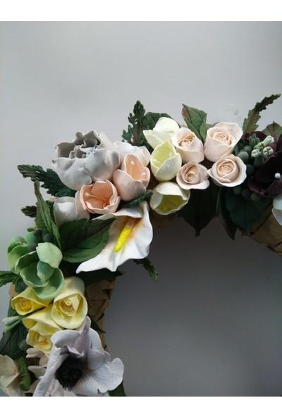 Kozalak Tasarım Yapay Çiçekli Süs
