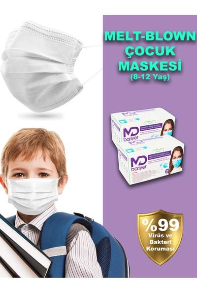Md Bariyer Meltblown Çocuk TİP2R Filtreli 3 Katlı Burun Telli Full Ultrasonic Cerrahi Maske 100 Adet