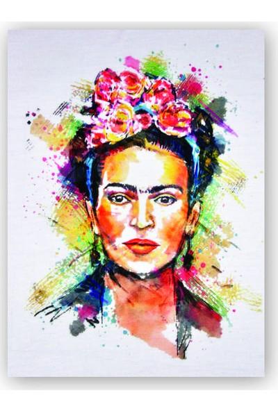 Caka Tablo Ahşap Tablo Frida Kahlo Çiçek Taçlı