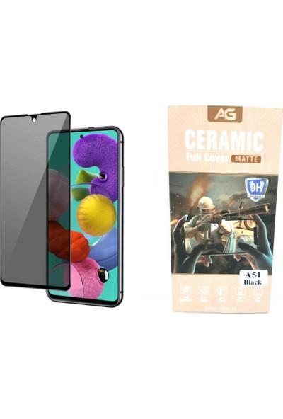 Ag Samsung A51 Black Özel Seramik Kırılmaz Ful Ekran Cam