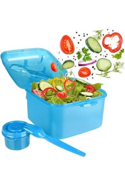 Çatal ve Sosluklu Kapaklı Salata Kabı Mavi