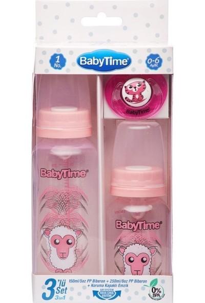 Baby Time BT209 3lü Pp Biberon Seti 0-6 Ay - Pembe