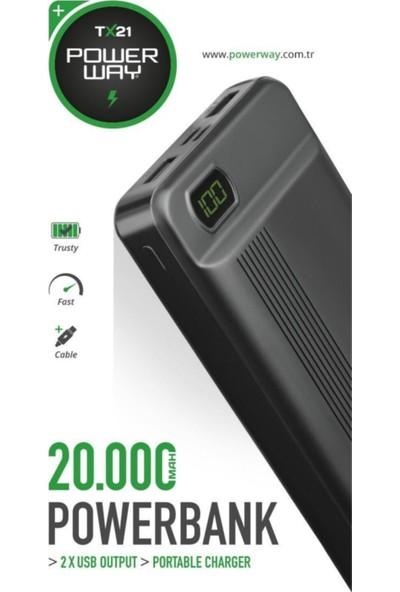 Powerway Dijital Göstergeli Powerbank 20000 Mah Taşınabilir Şarj Cihazı