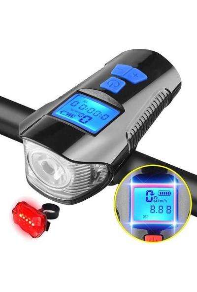 Pozitif Bisiklet Farı USB Şarj Edilebilir LED Far +Ön Far +Kilometre Saati XA-585