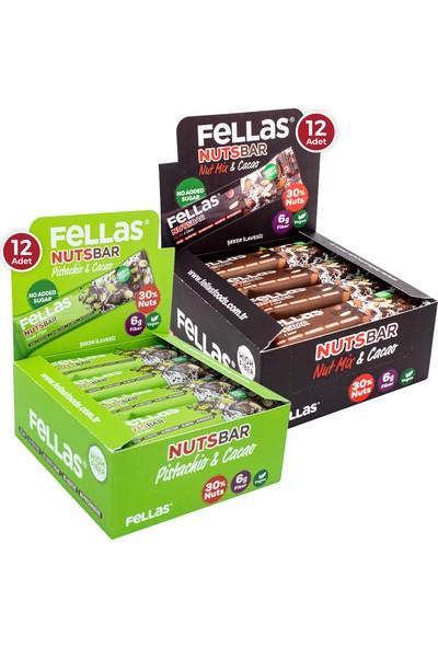 Fellas Meyve Bar 40 g Süper İkili Kutu 24 Adet - Antep Fıstıklı x 12 Adet + Karışık Kuruyemişli x 12 Adet