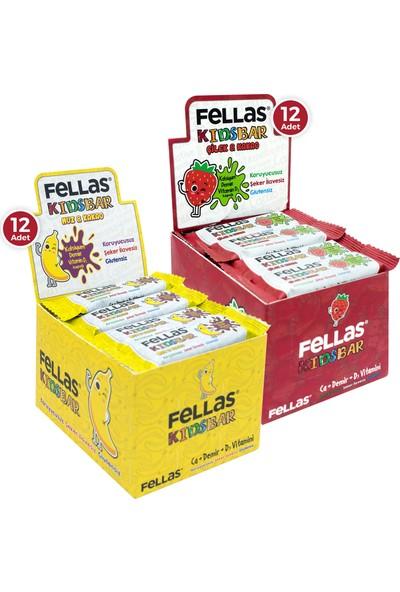 Fellas Kids Meyve Bar 28 g Süper İkili Kutu 24 Adet - Muzlu x 12 Adet + Çilekli x 12 Adet