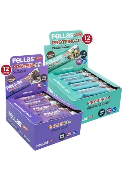Fellas Protein Bar 32 g Süper İkili Kutu 24 Adet - Duble Kakaolu x 12 Adet + Fındıklı x 12 Adet