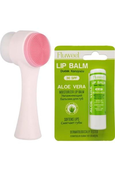 Pudra Shine Fluweel 30SPF Aloe Vera Dudak Koruyucu Lip Balm 5gr ve Cilt Temizleme Fırçası