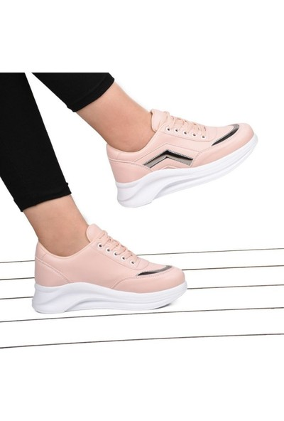 Kadın Şeritli Pembe Bağcıklı Spor Ayakkabı BA16060