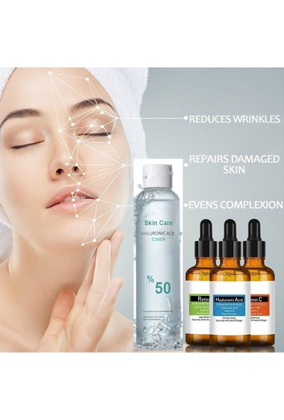 Natural Hyaluronic Acid + Retinol + Vitamin C Serum + Hyaluronic Acid Tonik