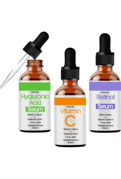 Natural Hyaluronic Acid + Retinol + Vitamin C Serum Set P530