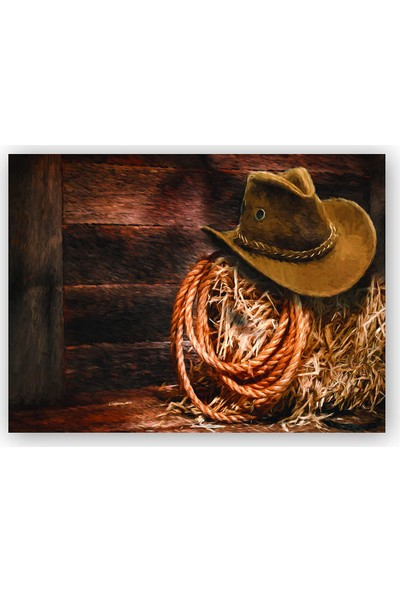 Caka Tablo Ahşap Tablo Kovboy Şapkası Kementi Saman
