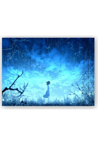 Caka Tablo Ahşap Tablo Anime Kız Gece ve Yağmur