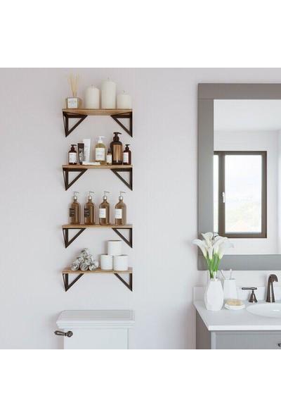 YEVA METAL ÜÇGEN Köşeli Kitaplık Banyo Mutfak Duvar Rafı Salon Rafı (1 Adet)
