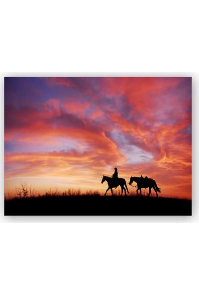 Caka Tablo Ahşap Tablo Günbatım Kovboy ve İki At Silüeti