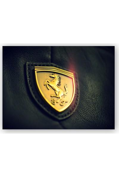Caka Tablo Ahşap Tablo Altın Ferrari Logosu