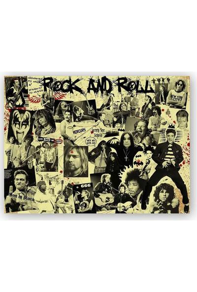 Caka Tablo Ahşap Tablo Geçmişten Rock Yıldızları