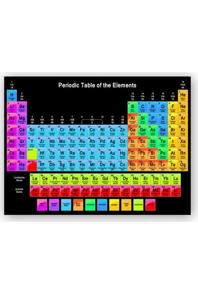 Caka Tablo Ahşap Tablo Mendeleev Kimya Periyodik Tablo Siyah Zemin Büyük Renkli
