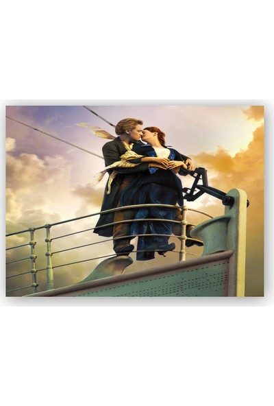 Caka Tablo Ahşap Tablo Titanic Rose ve Jack Güvertede