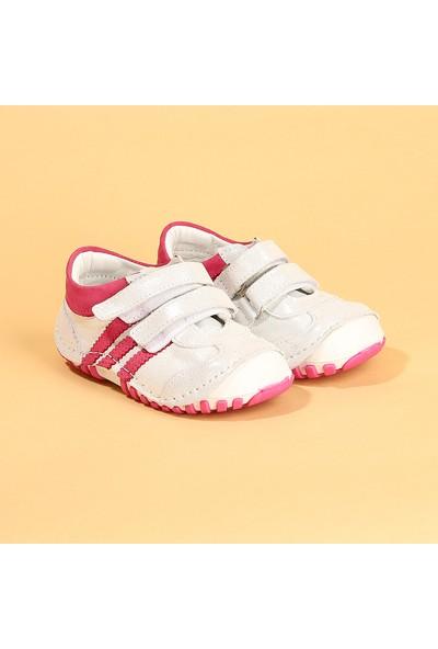 Kiko Kids Teo 138 Deri Orto Pedik Cırtlı Kız Çocuk Ayakkabı Beyaz-Fuşya