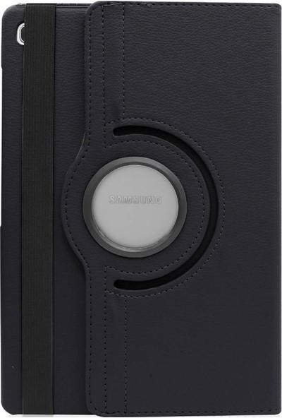 Happyshop Samsung Galaxy Tab A7 SM-T500 Kılıf Dönerli Standlı Suni Deri Kapaklı Kılıf Siyah